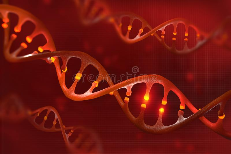 DNA molecule. Genetic modification. Study of the structure of the human genome. 3D illustration on biotechnology royalty free illustration