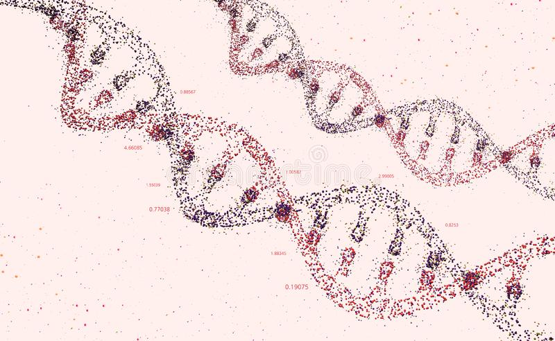DNA molecule. Genome analysis and study of the genetic structure of the organism. 3D illustration of a DNA helix in the form of small dots royalty free illustration