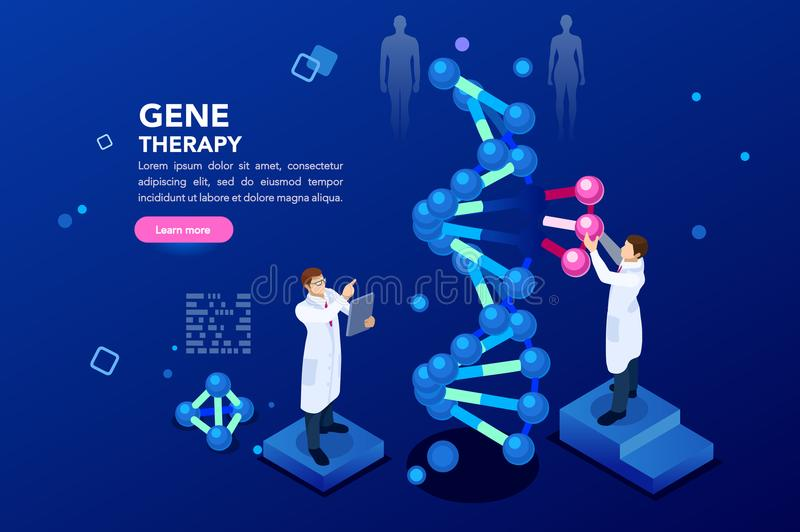 Dna Molecule Helix Blue Background. Health and biochemistry laboratory of nanotechnology. Molecule helix of dna, genome or gene evolution. Vector blue science royalty free illustration