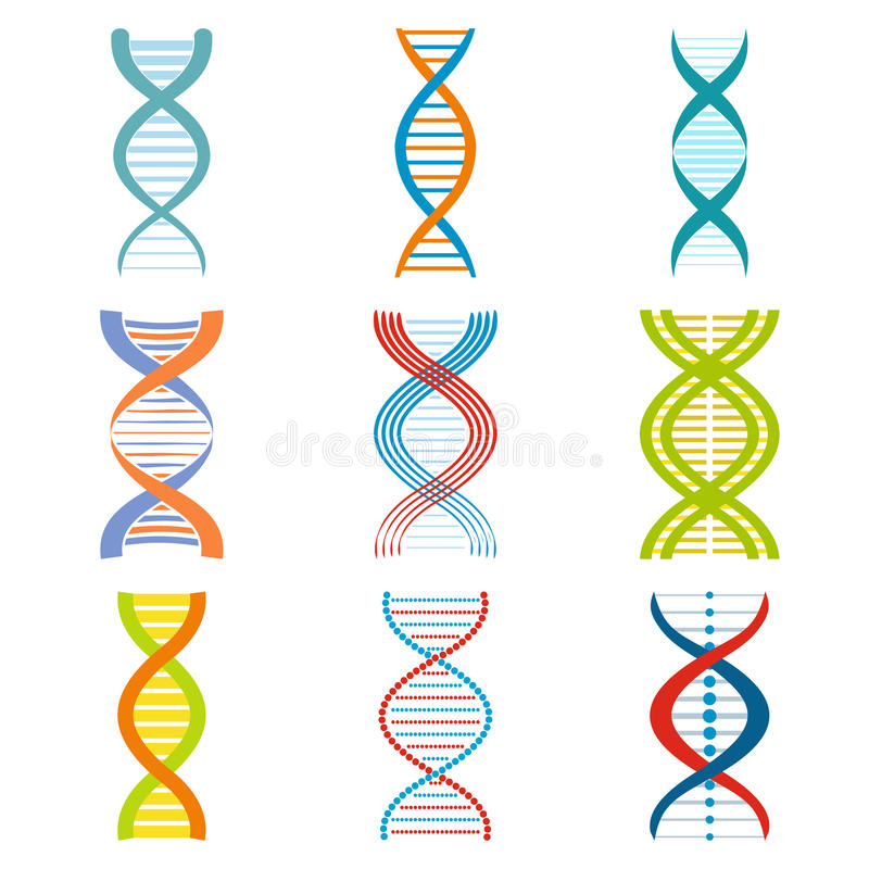 Dna And Molecule Symbols Set Stock Vector Illustration Of