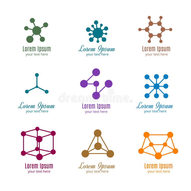 Dna and molecule vector logos for tech, medicine, science, chemistry, biotechnology vector illustration