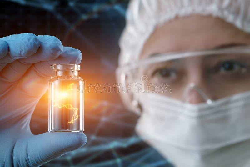 DNA-moleculeonderzoek Genetisch onderzoek abstract concept royalty-vrije stock afbeeldingen