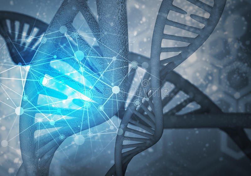 DNA molecules background, 3D rendering. Background image with DNA molecule research concept, 3D rendering stock illustration