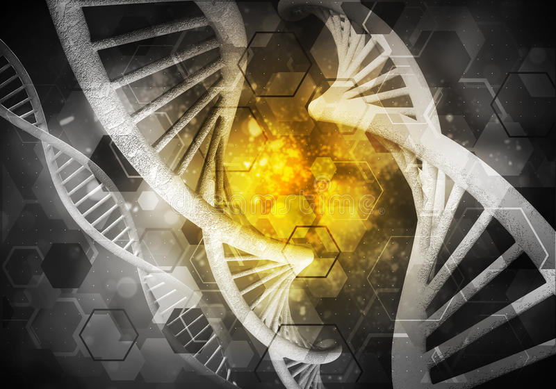 DNA molecules background, 3D rendering. Background image with DNA molecule research concept, 3D rendering vector illustration