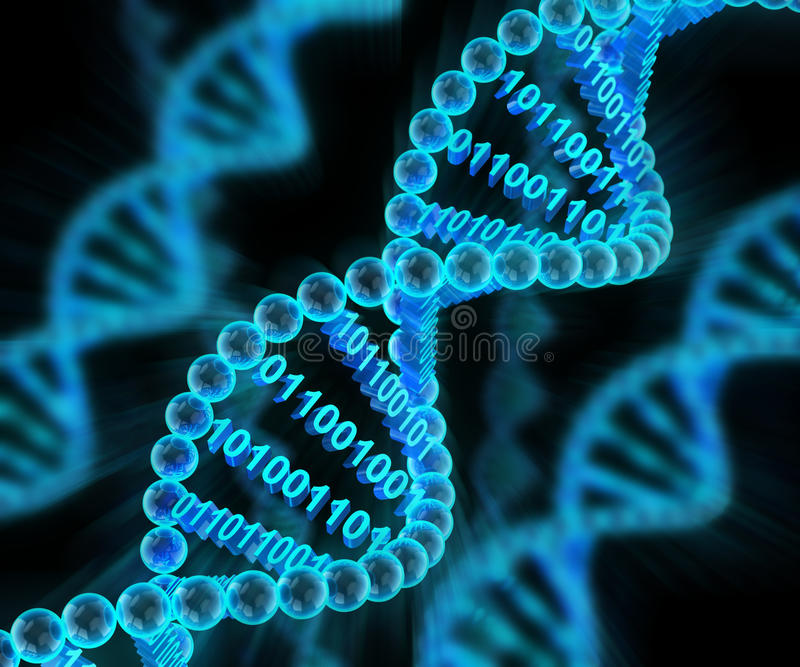 DNA molecules with binary code, 3d render royalty free illustration