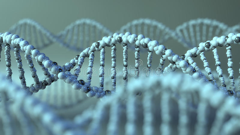 DNA-molecules Gen, genetisch onderzoek of moderne geneeskundeconcepten het 3d teruggeven royalty-vrije stock foto's
