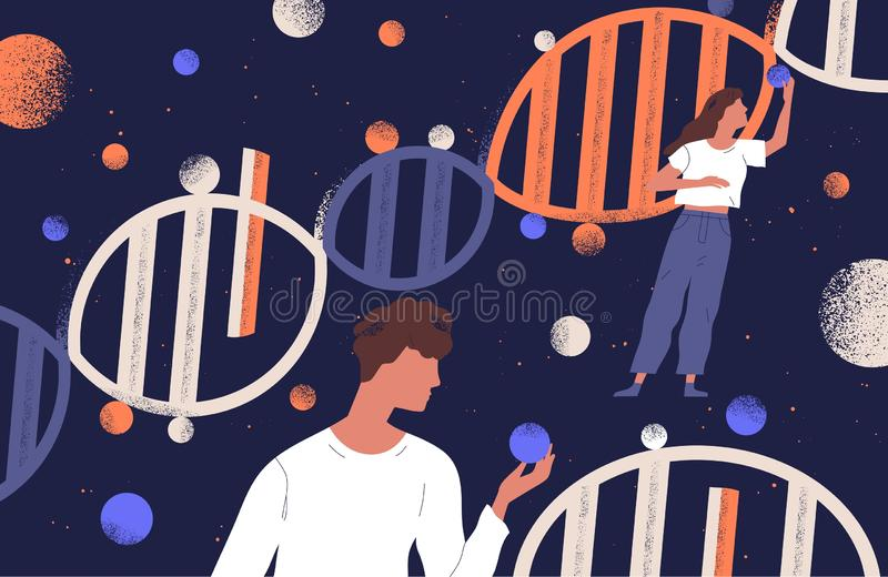 DNA molecules, man and women holding genes. Concept of scientific research in ancestry genetics, genomics, genome stock illustration