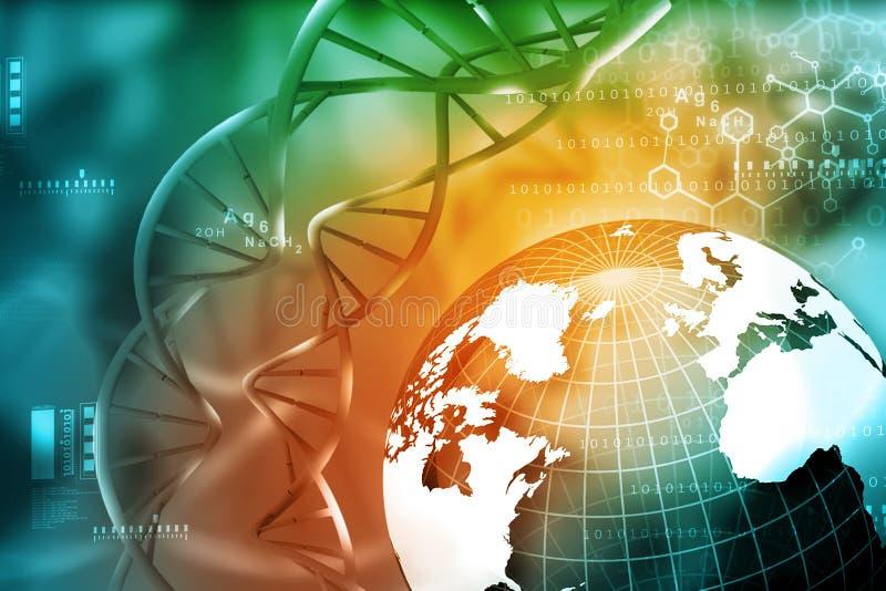 DNA-molecules met aarde royalty-vrije illustratie