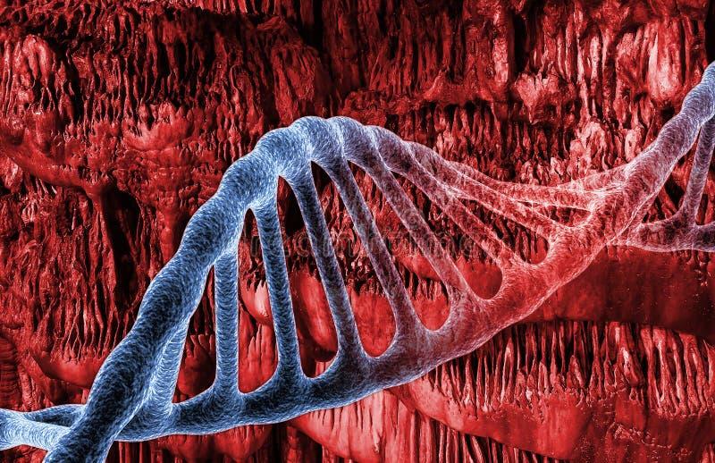 DNA-molecules in rode ruimte, concept besmetting en virus Medische Technologieachtergrond 3d geef terug stock illustratie