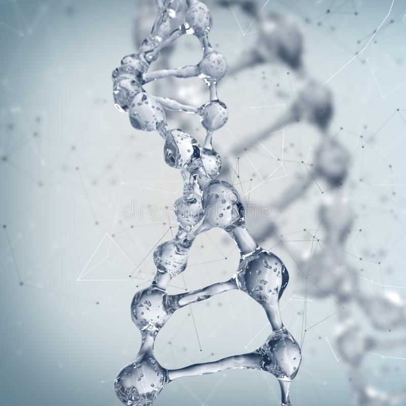 DNA molecules on the science background. royalty free illustration