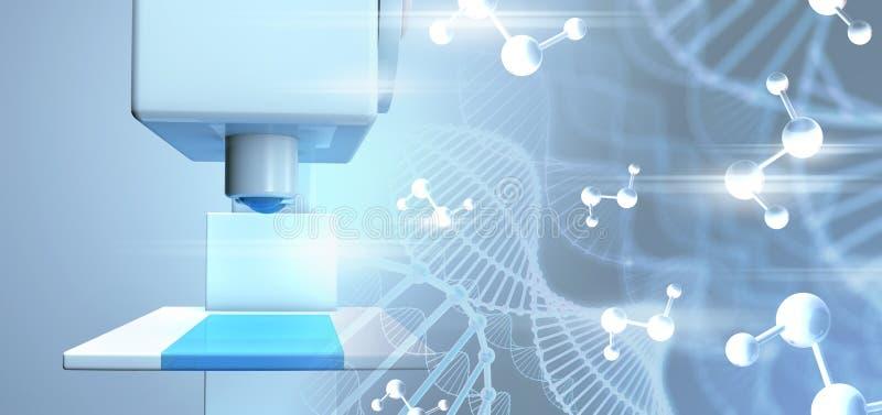 DNA molecules. Scientific microscope closeup of DNA molecules. 3d illustration widescreen stock photos