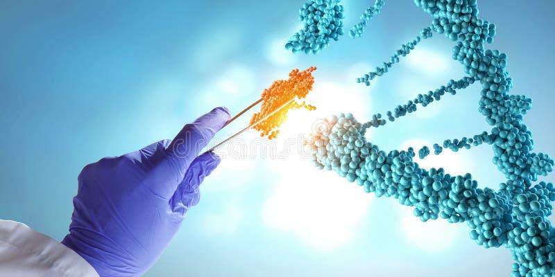 DNA-moleculesontwerp met de holdingsscharen van de artsenhand Gemengde media royalty-vrije stock foto's