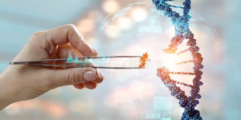 DNA-moleculesontwerp met de vrouwelijke scharen van de handholding Gemengde media stock foto