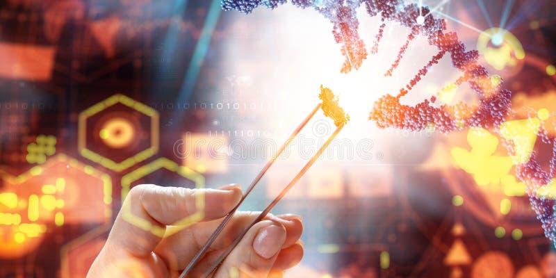 DNA-moleculesontwerp met de vrouwelijke scharen van de handholding Gemengde media royalty-vrije stock fotografie