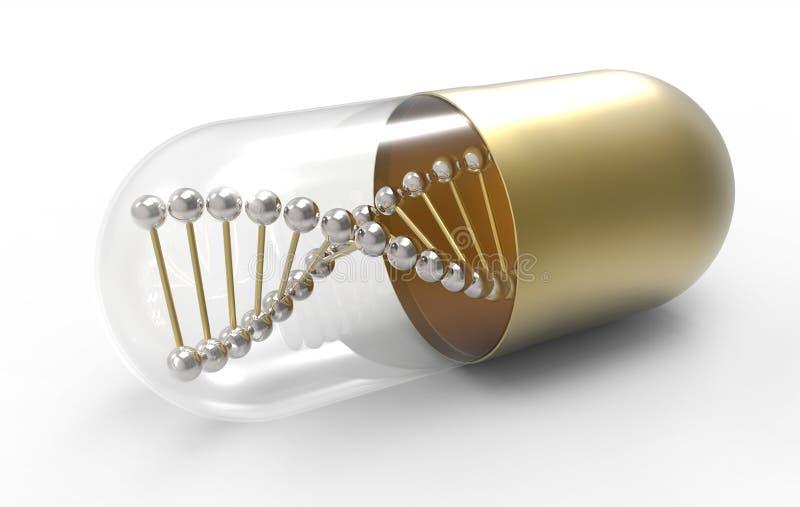 DNA-Molekül in der goldenen medizinischen Kapsel stock abbildung