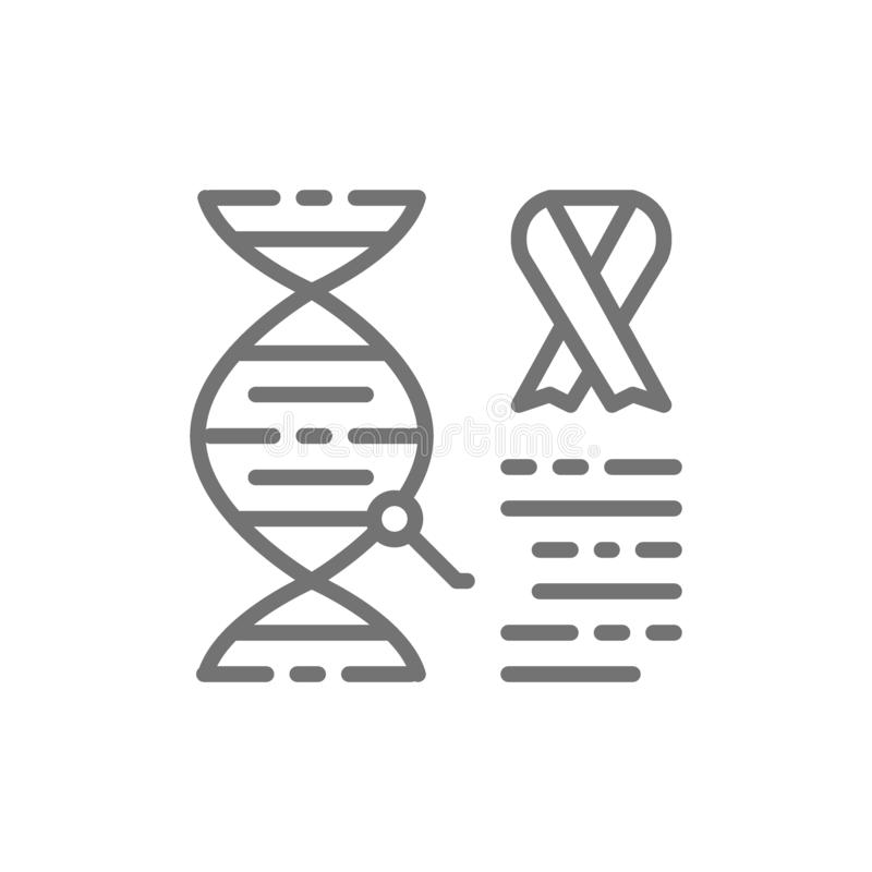 DNA-Molekül mit Krebszellen, bösartiger Tumor, Onkologielinie Ikone vektor abbildung