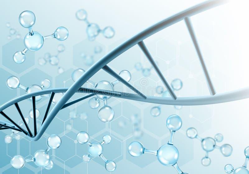 DNA-Moleküle auf wissenschaftlichem Hintergrund stock abbildung