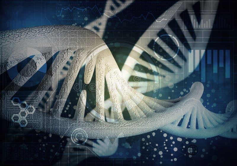 DNA-Molekülhintergrund, Wiedergabe 3D vektor abbildung