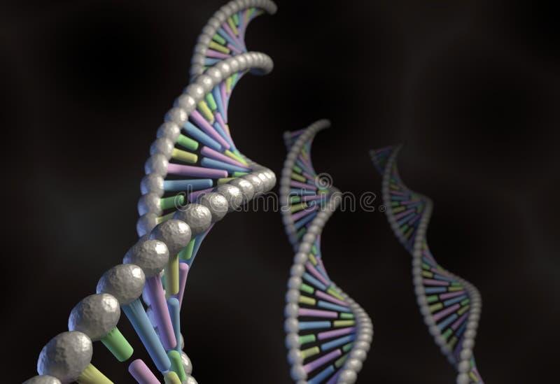 DNA molekuła z koloru kodu guanin timin adein citosine na czerni royalty ilustracja