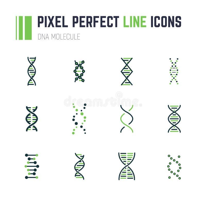 DNA molekuły ikony set ilustracja wektor