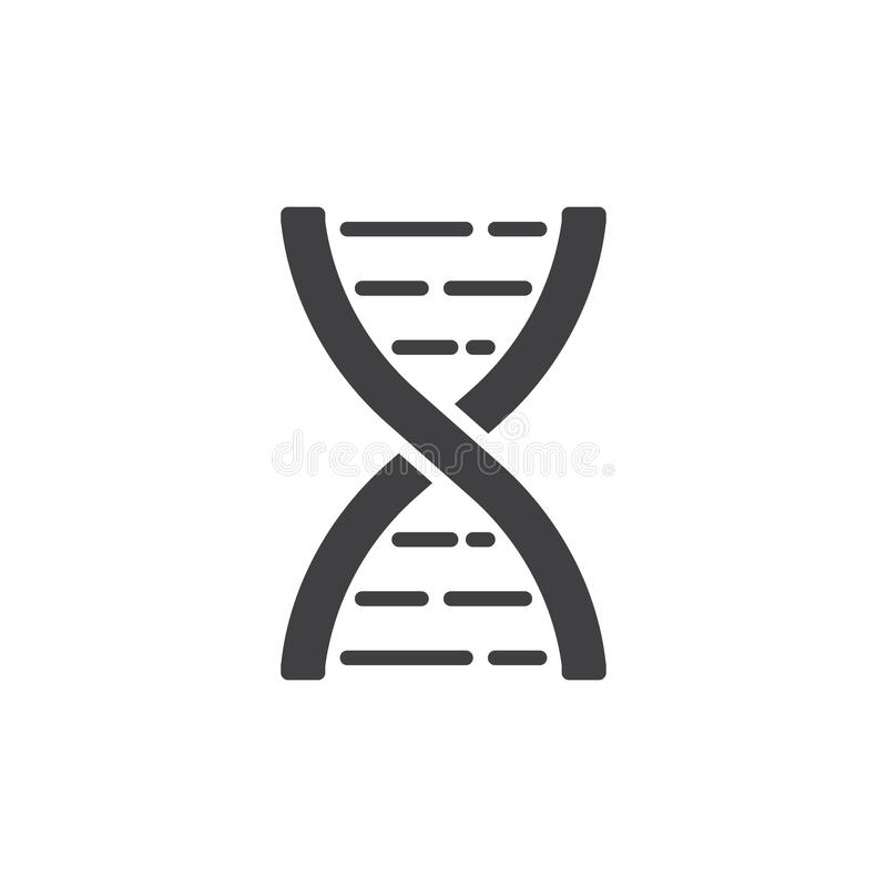 DNA molekuły ikony wektor, wypełniający mieszkanie znak, stały piktogram odizolowywający na bielu ilustracja wektor