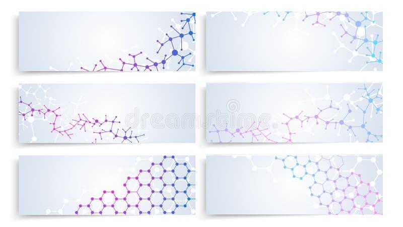 Dna molekuły struktura, komórki mózgowe podłączeniowe Wektorowej chemii medyczni sztandary ustawiający royalty ilustracja