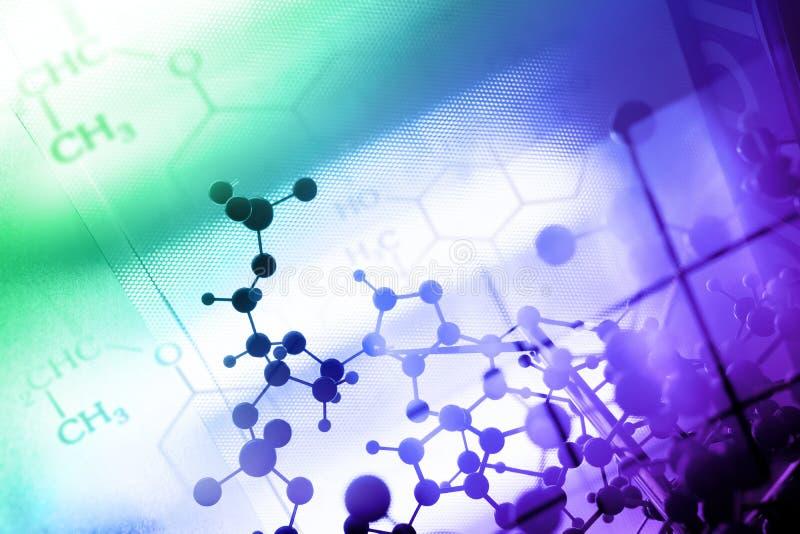 DNA molekyl, kemi i laboratoriumlabbprov royaltyfri foto