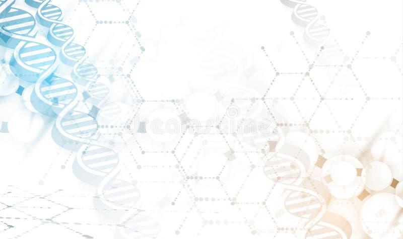 Dna- och läkarundersökning- och teknologibakgrund futuristisk molekyl vektor illustrationer