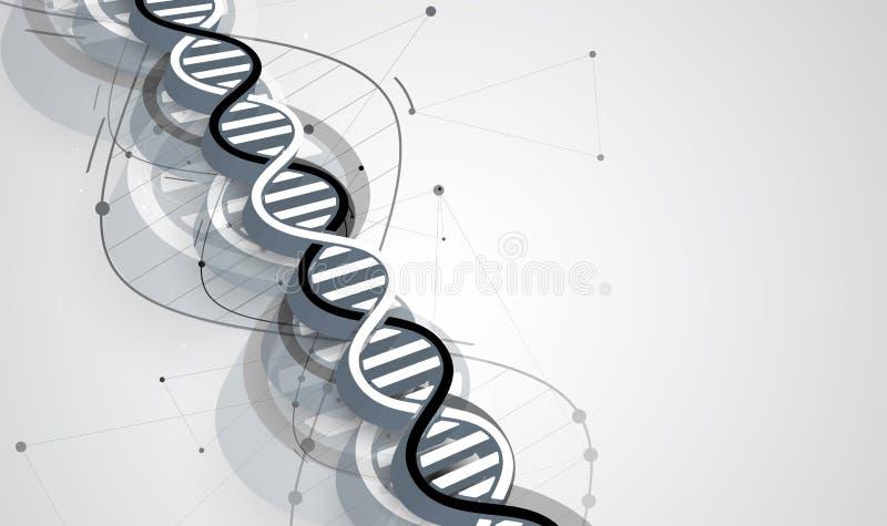 Dna- och läkarundersökning- och teknologibakgrund futuristisk molekyl s stock illustrationer
