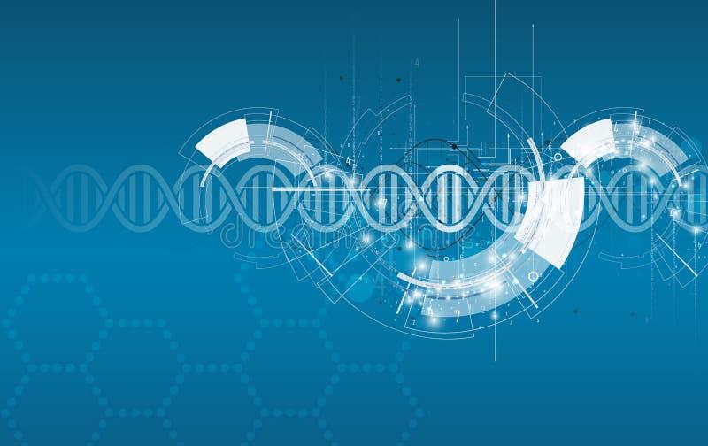 Dna- och läkarundersökning- och teknologibakgrund futuristisk molekyl s royaltyfri illustrationer