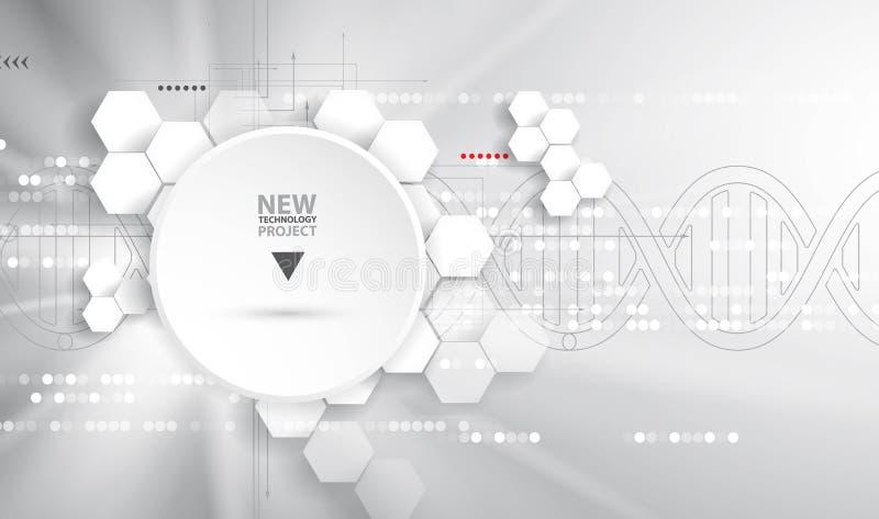 Dna- och läkarundersökning- och teknologibakgrund futuristisk molekyl s vektor illustrationer