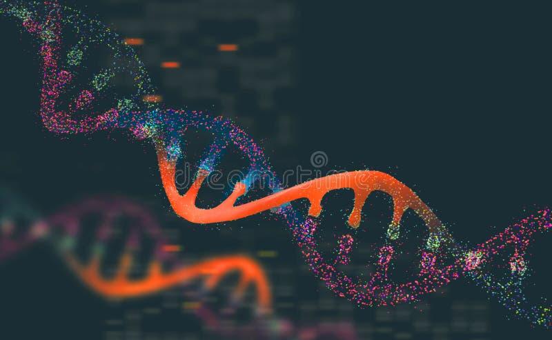 DNA-onderzoekmolecule 3D Illustratie Analyse van structuur menselijk genoom vector illustratie