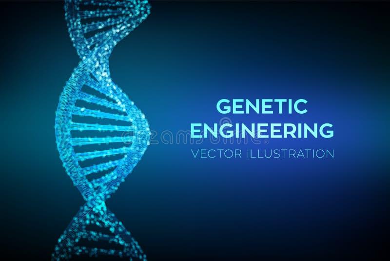 DNA-Opeenvolging Het netwerk van de de moleculesstructuur van Wireframedna DNA-code editable malplaatje Wetenschap en technologie royalty-vrije illustratie