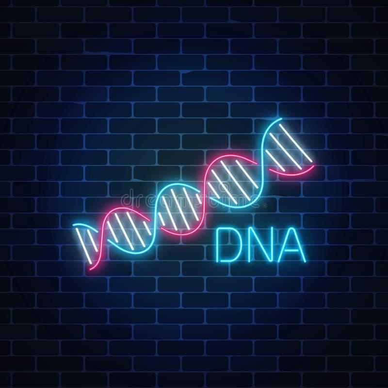 DNA-opeenvolgingsteken in neonstijl op donkere bakstenen muurachtergrond DNA-het gloeiende symbool van de moleculestructuur royalty-vrije illustratie