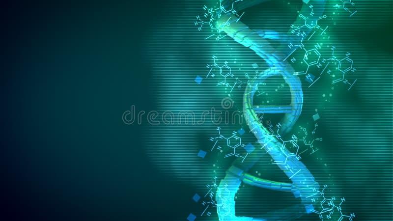 DNA perfetto dell'elica che fila intorno il suo asse royalty illustrazione gratis