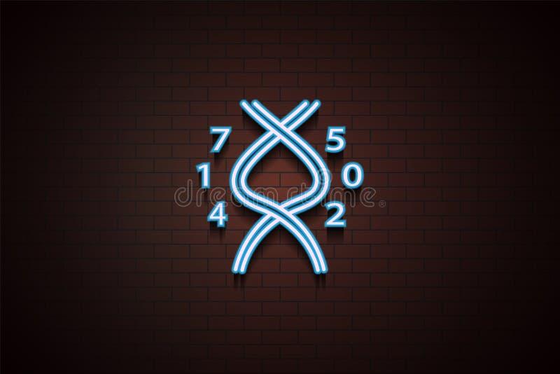 DNA-pictogram in Neonstijl stock illustratie