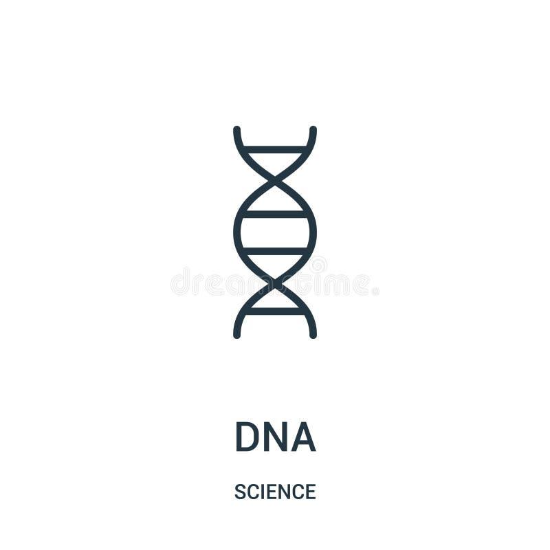 DNA-pictogramvector van wetenschapsinzameling De dunne van het het overzichtspictogram van lijndna vectorillustratie Lineair symb stock illustratie