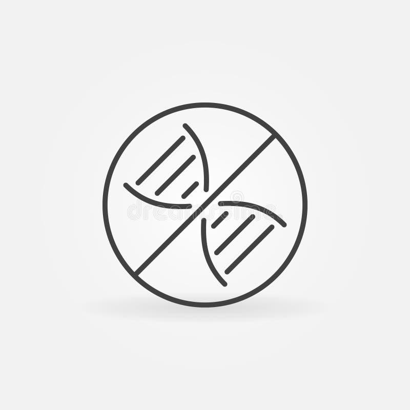 DNA Prohibition vector concept icon in thin line style. DNA Prohibition vector concept icon or symbol in thin line style vector illustration