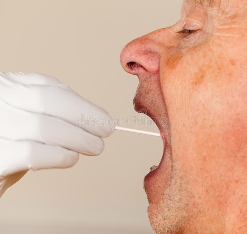 DNA-Putzlappen des Speichels genommen vom älteren Mann lizenzfreie stockfotos