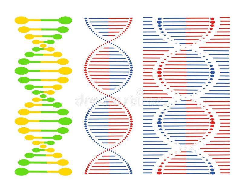 DNA różni sety spirale na białym tle elementy projektów widzą podobne wizyty nosicieli na miejsce mojego proszę royalty ilustracja