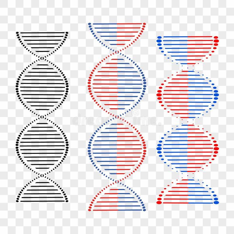 DNA różni sety spirale na przejrzystym tle elementy projektów widzą podobne wizyty nosicieli na miejsce mojego proszę ilustracja wektor