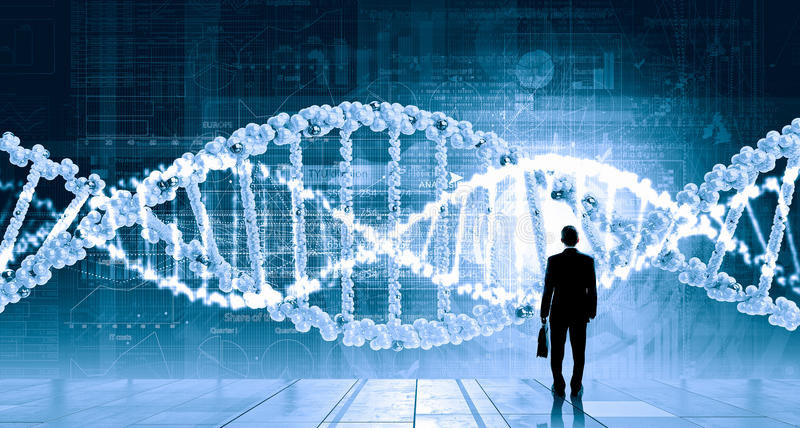 Dna research. Businessman standing with back and virtual panel with dna spiral