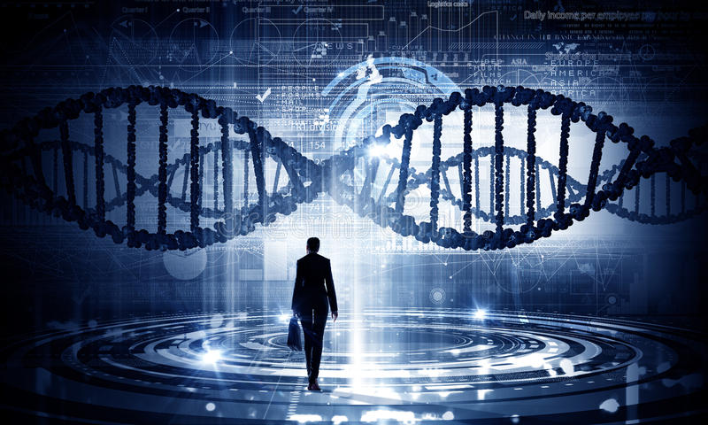 Dna research. Businesswoman standing with back and virtual panel with dna spiral stock image