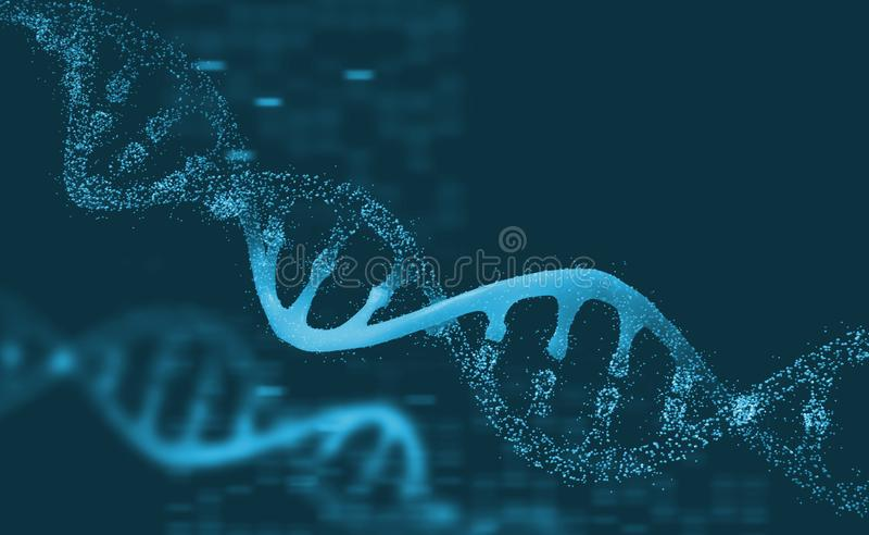 DNA research molecule. Analysis of structure human genome. DNA research molecule. 3D illustration. Analysis of structure human genome stock illustration
