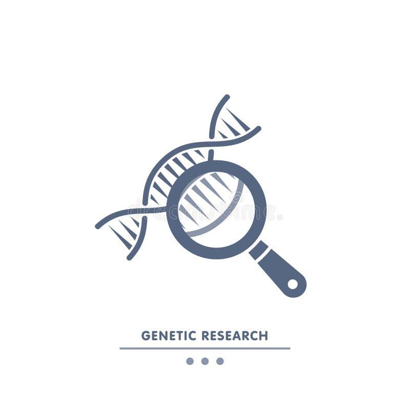 DNA, ricerca della genetica catena del DNA nel segno della lente d'ingrandimento ingegneria genetica, clonazione, prova di patern royalty illustrazione gratis