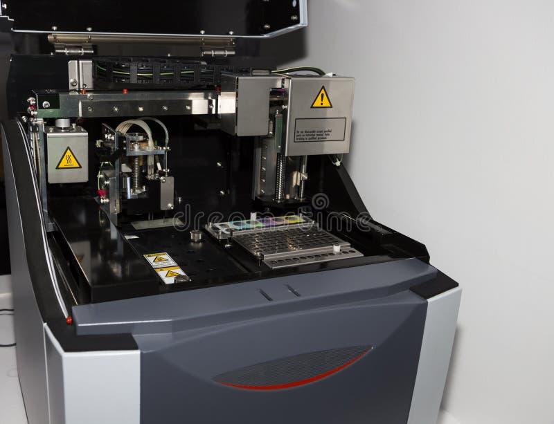 DNA RNA Analysis equipment. Selective focus stock photo