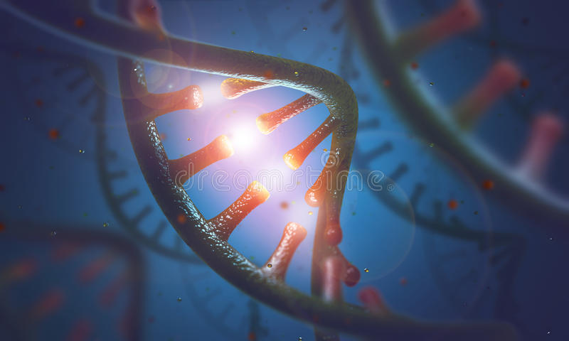 DNA and RNA molecules. 3D image concept of DNA and RNA molecules royalty free illustration
