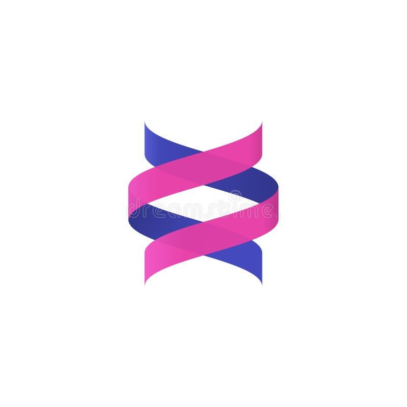 DNA-schroef, abstract spiraalvormig embleem vectorelement, biotechnologie logotype stock illustratie