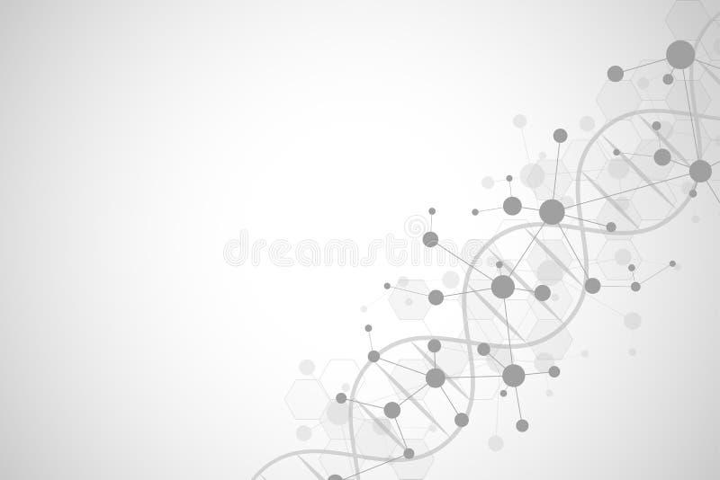 DNA-schroef en moleculaire structuur Wetenschap en technologieconcept met moleculesachtergrond vector illustratie