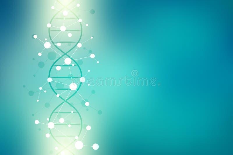 DNA-schroef en moleculaire structuur Wetenschap en technologieconcept met moleculesachtergrond royalty-vrije illustratie